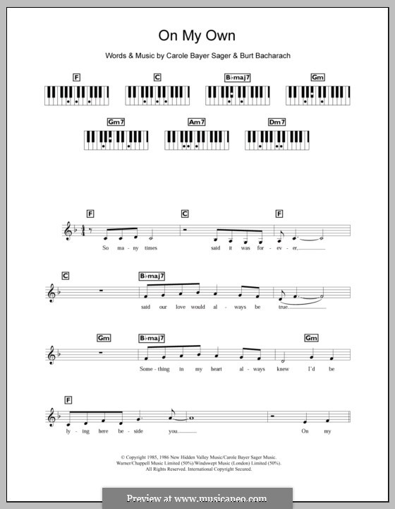 On My Own: For keyboard (Michael MacDonald) by Burt Bacharach, Carole Bayer Sager