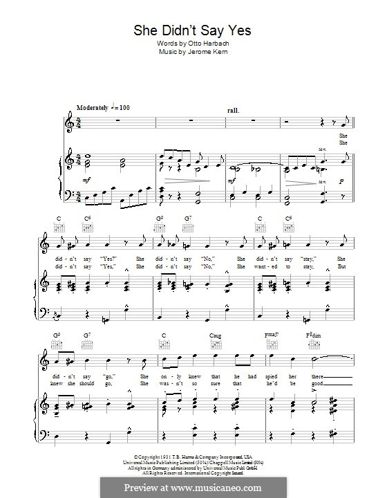 She Didn't Say Yes By J Kern Sheet Music On Musicaneo: Sheet Music Jane Eyre Yes At Alzheimers-prions.com