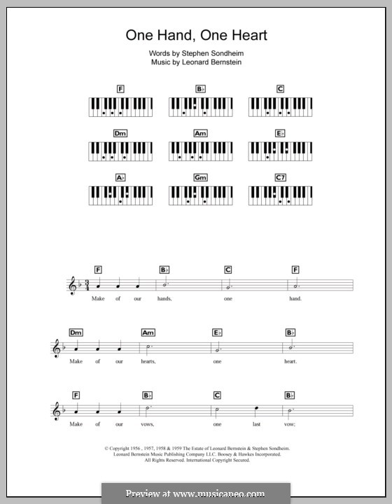One Hand, One Heart: For keyboard by Leonard Bernstein