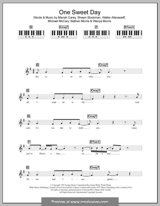One Sweet Day (Mariah Carey and Boyz II Men): For keyboard by Mariah Carey, Michael McCary, Nathan Morris, Shawn Stockman, Walter Afanasieff, Wanya Morris