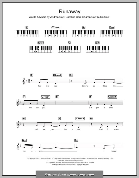 Runaway (The Corrs): For keyboard by Andrea Corr, Caroline Corr, Jim Corr, Sharon Corr