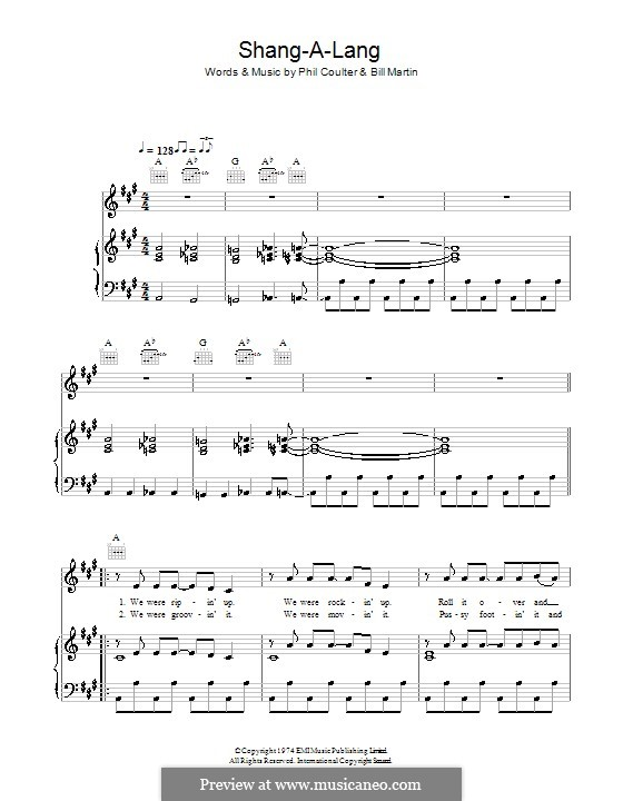 Shang-a-Lang (Bay City Rollers): For voice and piano (or guitar) by Billy Martin, Phil Coulter