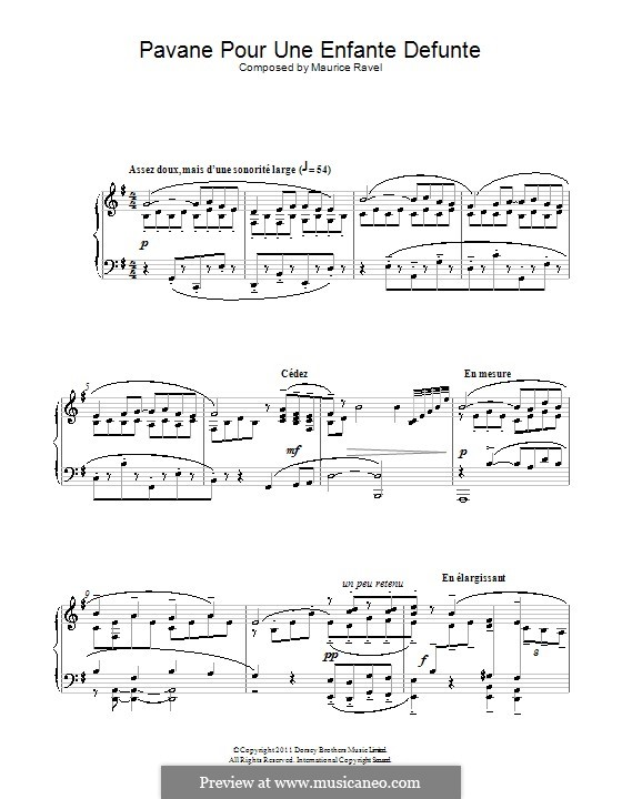 Pavane pour une infante défunte (Pavane for a Dead Princess), M.19: For piano (high quality sheet music) by Maurice Ravel