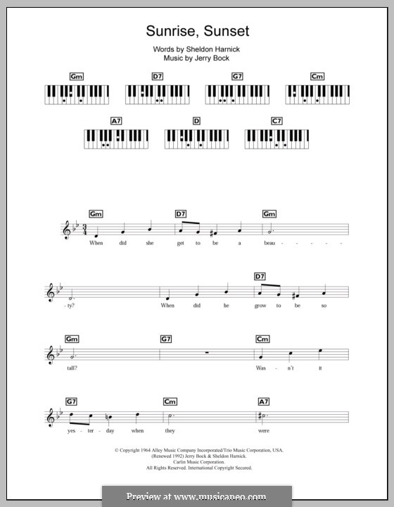 Sunrise, Sunset (from Fiddler on the Roof): For keyboard by Jerry Bock