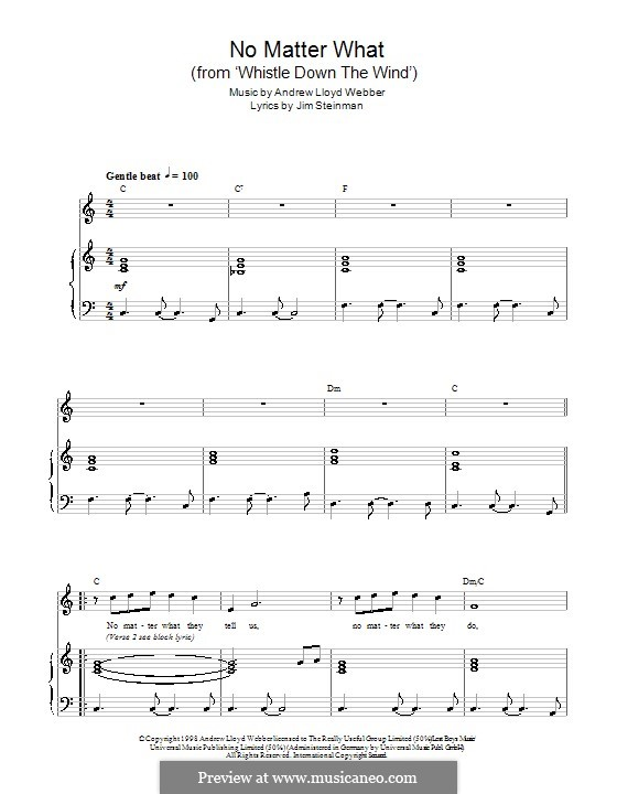 No Matter What (from Whistle Down the Wind): For voice and piano by Andrew Lloyd Webber