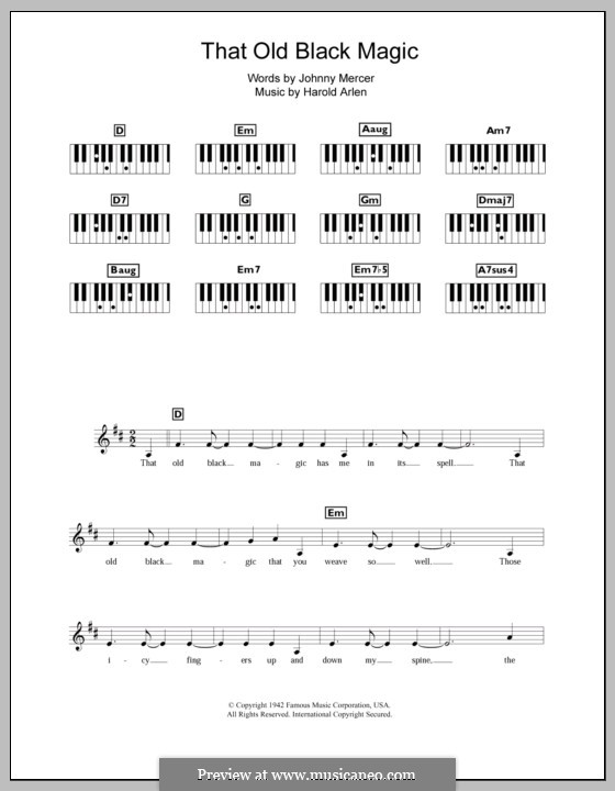 That Old Black Magic (from Star Spangled Rhythm): For keyboard by Harold Arlen