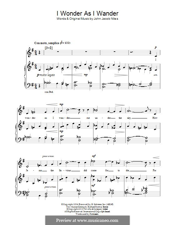 I Wonder as I Wander: For voice and piano (or guitar) by John Jacob Niles