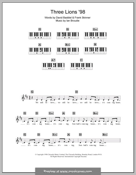 Three Lions (The Lightning Seeds): For keyboard by Ian Broudie