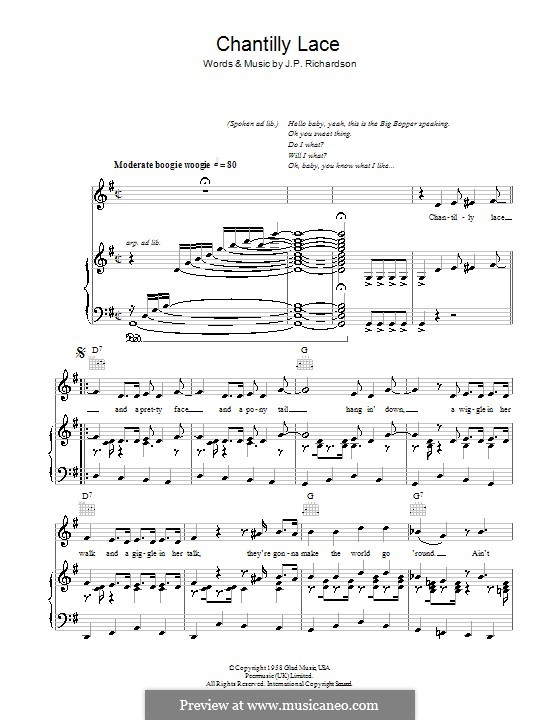 Chantilly Lace (The Big Bopper): For voice and piano (or guitar) by J.P. Richardson