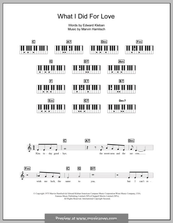 What I Did for Love (Priscilla Lopez): For keyboard by Marvin Hamlisch