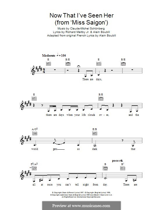 Now That I've Seen Her: Melody line, lyrics and chords by Claude-Michel Schönberg
