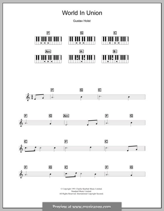 World in Union (World Cup Rugby 1991): For keyboard by Gustav Holst