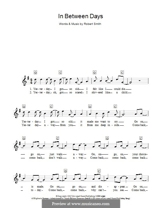 In Between Days (The Cure): For keyboard by Robert Gary Smith
