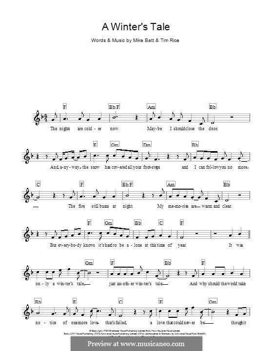 A Winter's Tale (David Essex): For keyboard by Mike Batt