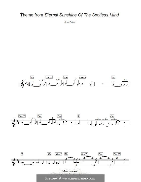 Eternal Sunshine of the Spotless Mind (Theme): Melody line, lyrics and chords by Jon Brion