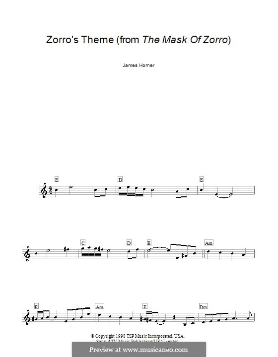 Zorro's Theme (from The Mask of Zorro): Melody line, lyrics and chords by James Horner
