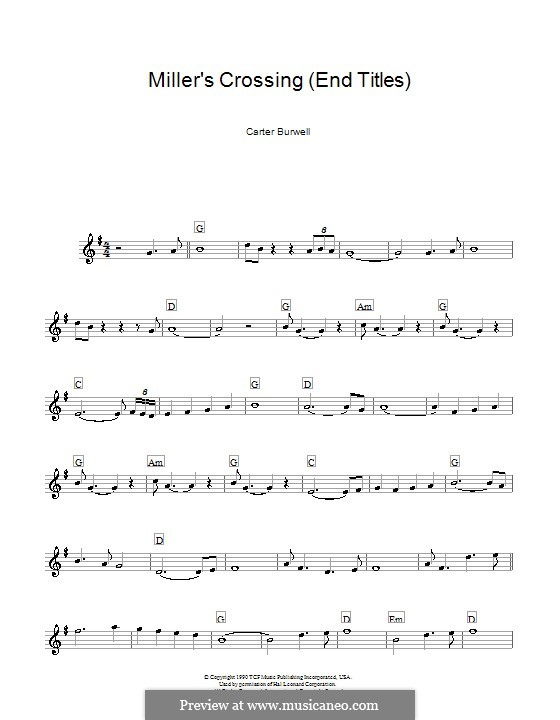 Miller's Crossing (End Titles): Melody line, lyrics and chords by Carter Burwell