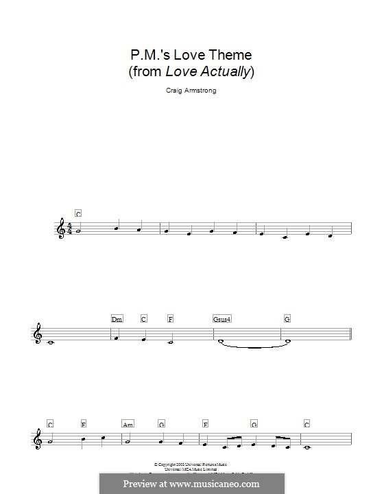 P.M.'s Love Theme (from Love Actually): Melody line, lyrics and chords by Craig Armstrong