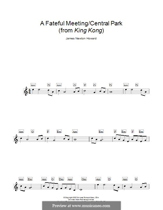 A Fateful Meeting/Central Park (from King Kong): For keyboard by James Newton Howard