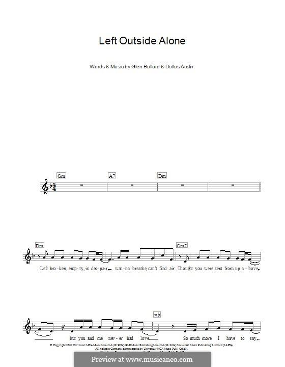 Left Outside Alone (Anastacia): For keyboard by Dallas Austin, Glen Ballard