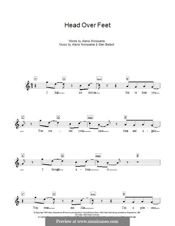 Head Over Feet: Melody line, lyrics and chords by Alanis Morissette, Glen Ballard