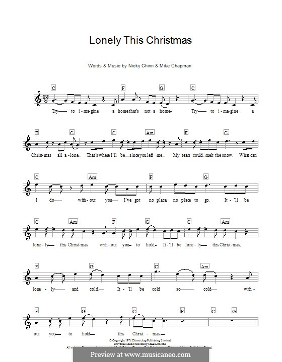 Lonely This Christmas (Mud): Melody line, lyrics and chords by Mike Chapman, Nicky Chinn