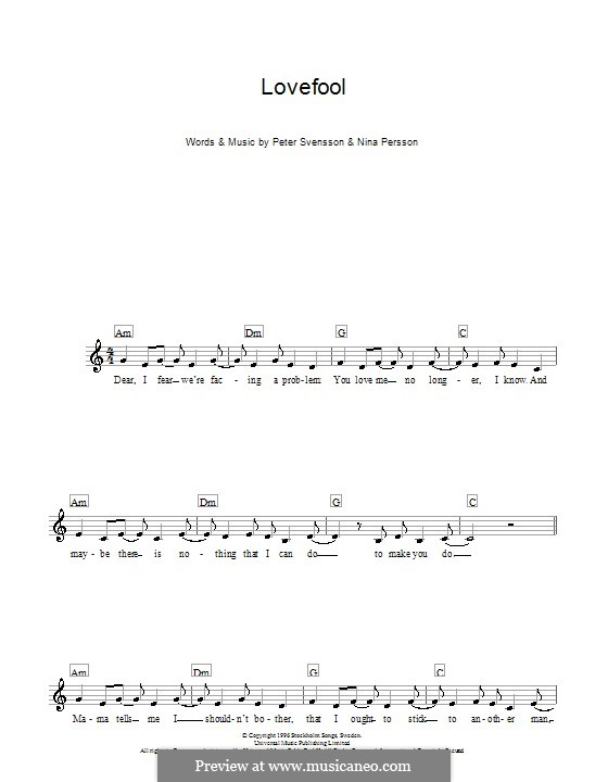 Lovefool (The Cardigans): Melody line, lyrics and chords by Nina Persson, Peter Svensson