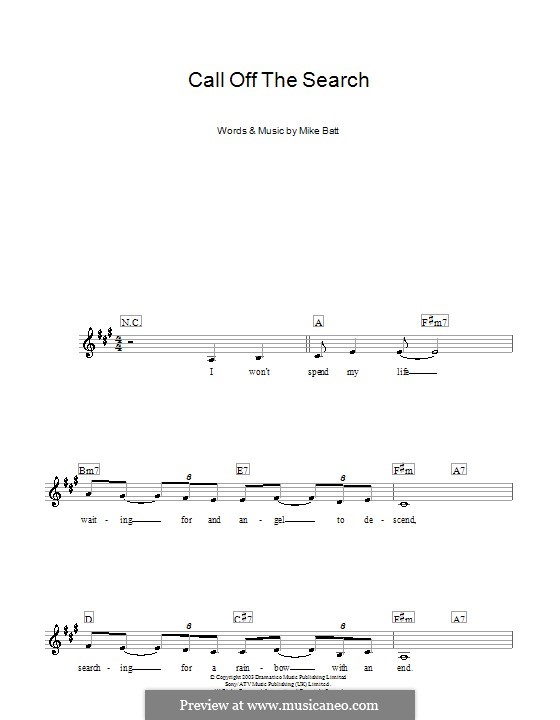 Call Off the Search (Katie Melua): For keyboard by Mike Batt