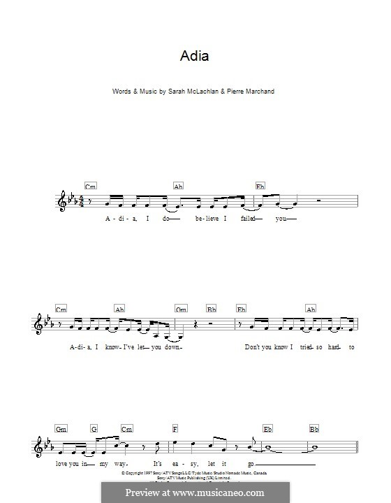 Adia By P Marchand S Mclachlan Sheet Music On Musicaneo