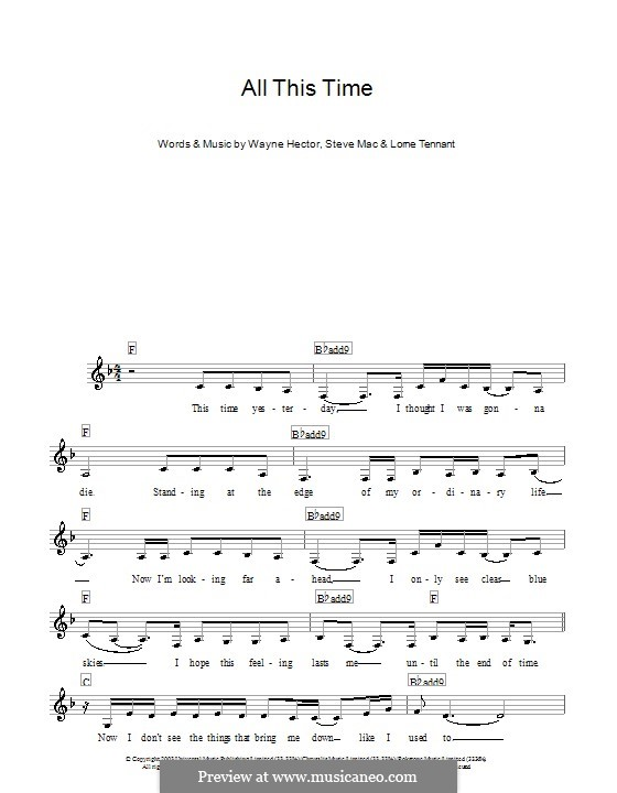 All This Time (Michelle McManus): For keyboard by Lorne Tennant, Steve Mac, Wayne Anthony Hector