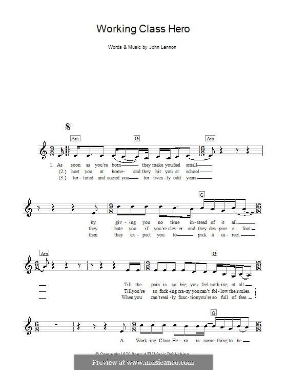 Working Class Hero: For keyboard by John Lennon