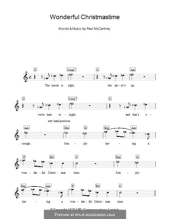Wonderful Christmastime: For keyboard by Paul McCartney