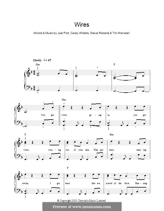 Wires (Athlete): For easy piano by Carey Willetts, Joel Pott, Steven Roberts, Timothy Wanstall