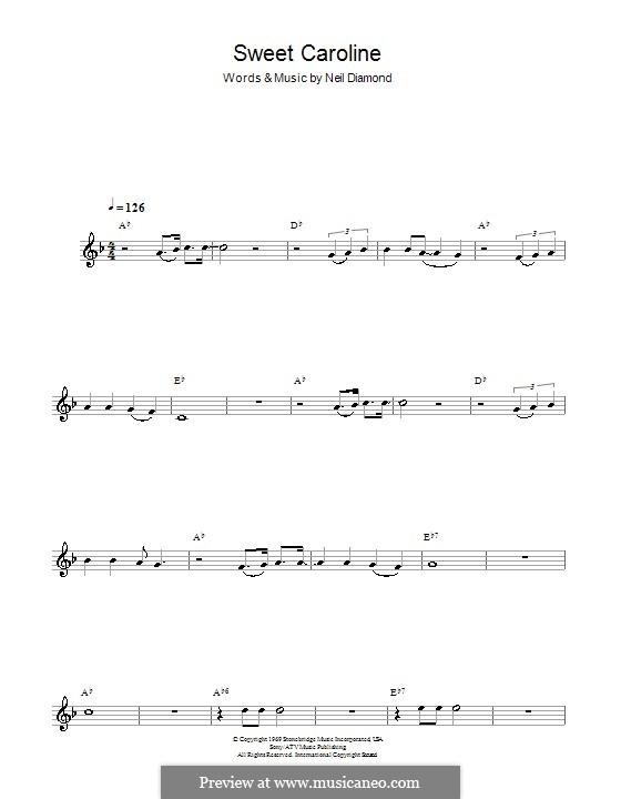 Sweet Caroline: For alto saxophone by Neil Diamond