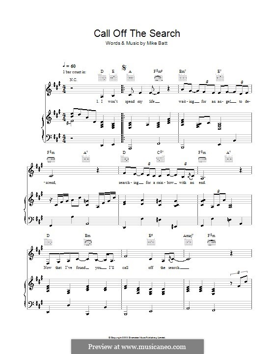 Call Off the Search (Katie Melua): For voice and piano (or guitar) by Mike Batt