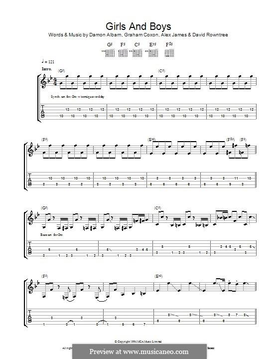 Girls and Boys (Blur): For guitar with tab by Alex James, Damon Albarn, David Rowntree, Graham Coxon