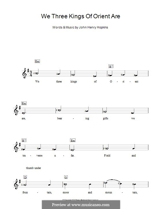 We Three Kings of Orient are, for Piano: Version for keyboard by John H. Hopkins Jr.