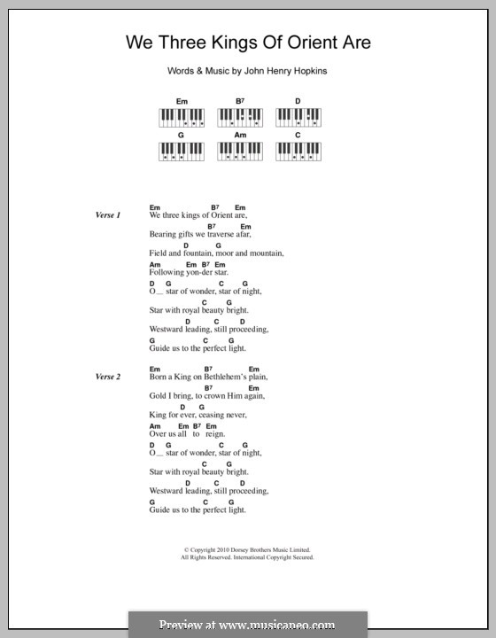 We Three Kings of Orient are: Lyrics and chords by John H. Hopkins Jr.