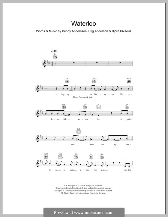 Waterloo (ABBA) by B. Andersson, B. Ulvaeus, S. Anderson on MusicaNeo