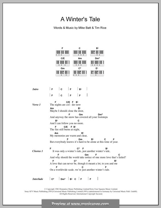A Winter's Tale (David Essex): Lyrics and piano chords by Mike Batt