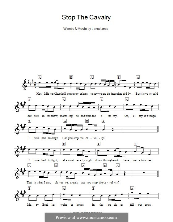 Stop the Cavalry: Melody line, lyrics and chords by Jona Lewie