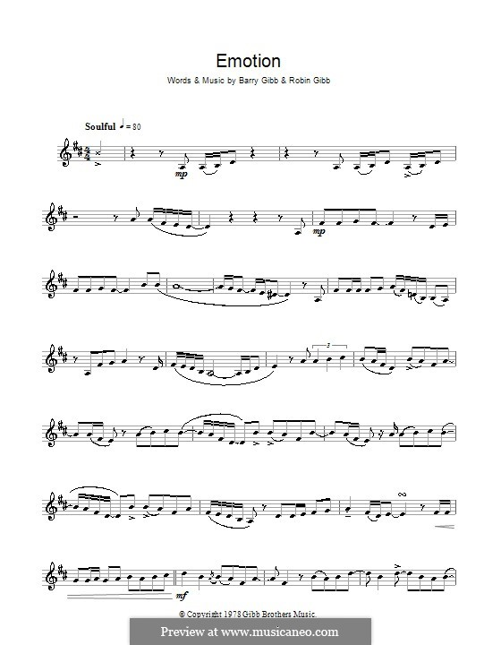 Emotion (Destiny's Child): For clarinet by Barry Gibb, Robin Gibb