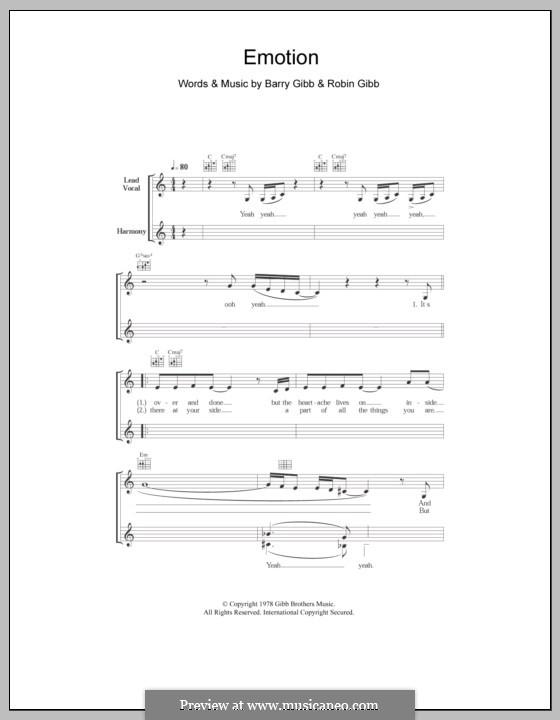 Emotion (Destiny's Child): Melody line, lyrics and chords by Barry Gibb, Robin Gibb