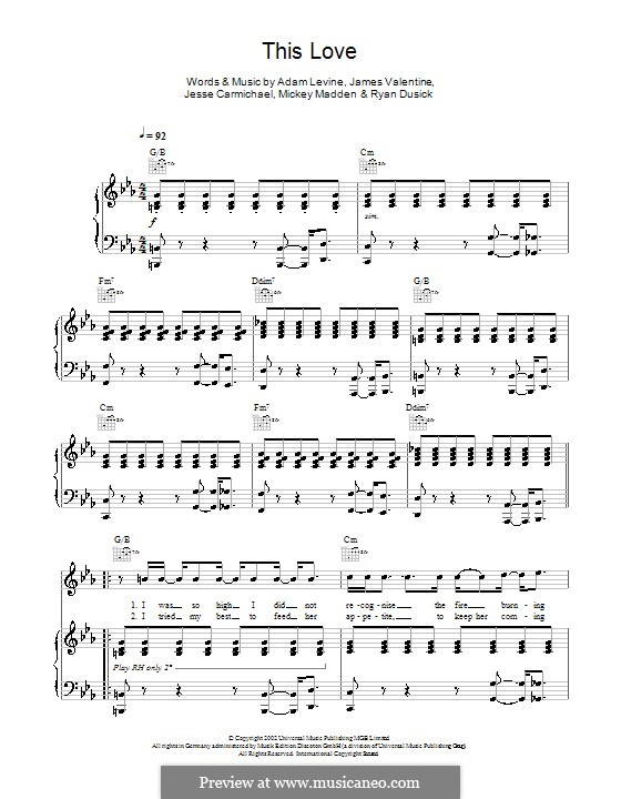 This Love Maroon 5 By A Levine J Carmichael Sheet Music On