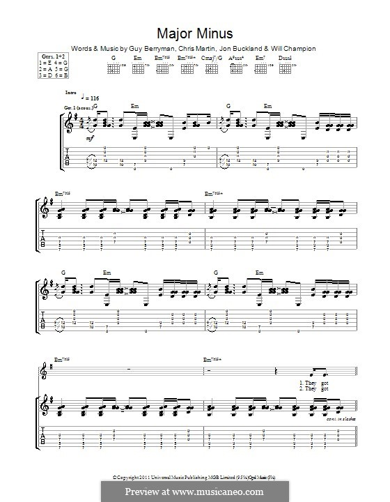 Major Minus (Coldplay): For guitar with tab by Chris Martin, Guy Berryman, Jonny Buckland, Will Champion