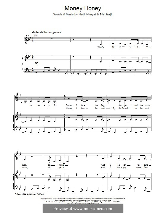 Money Honey (Lady Gaga): For voice and piano (or guitar) by RedOne, Bilal Hajji, Stefani Germanotta