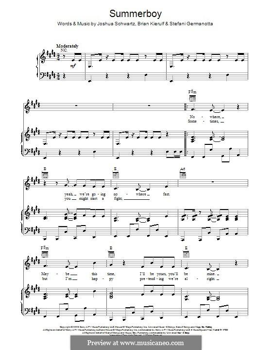 Summerboy (Lady Gaga): For voice and piano (or guitar) by Brian Kierulf, Joshua Schwartz, Stefani Germanotta