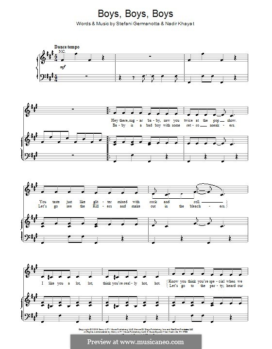 Boys Boys Boys (Lady Gaga): For voice and piano (or guitar) by RedOne, Stefani Germanotta