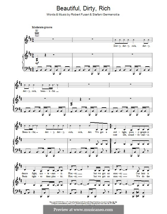 Beautiful, Dirty, Rich (Lady Gaga): For voice and piano (or guitar) by Robert Fusari, Stefani Germanotta
