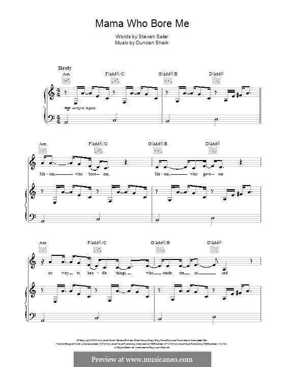 Mama Who Bore Me: For voice and piano (or guitar) by Duncan Sheik